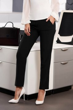 Trousers black office cloth medium waist straight