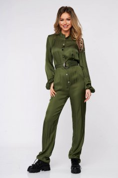 Khaki jumpsuit elegant from satin flared accessorized with tied waistband