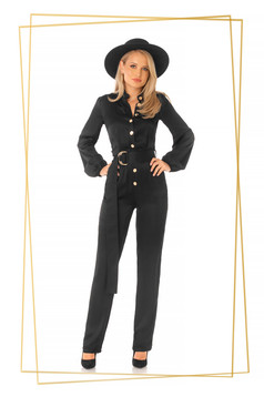 Black jumpsuit elegant from satin flared accessorized with tied waistband
