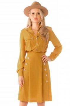 Midi daily cloche mustard long sleeved dress
