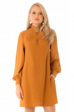 Short cut daily mustard dress from veil fabric a-line turtleneck long sleeved