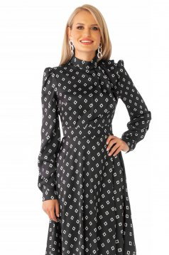 Dress black elegant cloche from satin fabric texture with geometrical print