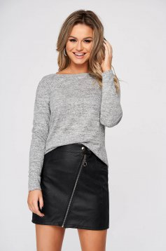 Lightgrey sweater casual flared from soft fabric knitted with large collar