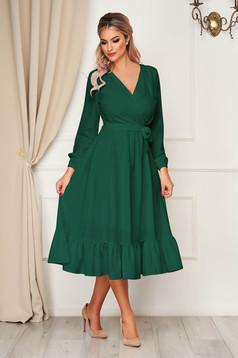 Rochie StarShinerS verde eleganta midi decolteu petrecut cu elastic in talie accesorizata cu cordon