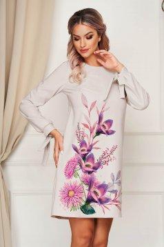 Rochie StarShinerS gri deschis scurta eleganta din stofa cu imprimeu floral