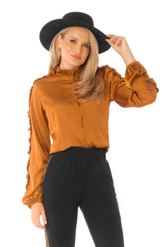 Women`s shirt bricky elegant flared with puffed sleeves from satin fabric texture