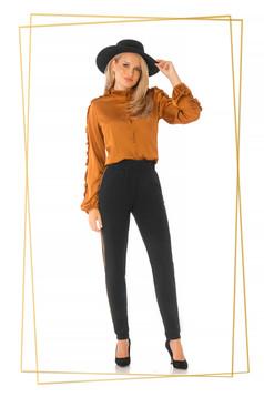 Pantaloni PrettyGirl negri office conici cu elastic in talie