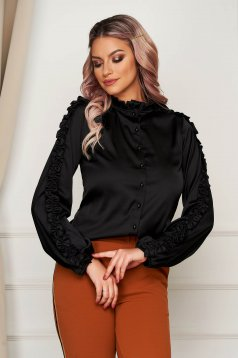 Women`s shirt black elegant flared with puffed sleeves from satin fabric texture
