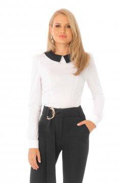 Camasa dama PrettyGirl neagra office mulata cu maneca lunga din bumbac usor elastic