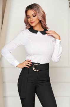 Women`s shirt black office tented long sleeve slightly elastic cotton