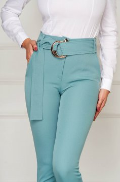 Trousers mint elegant conical high waisted slightly elastic fabric