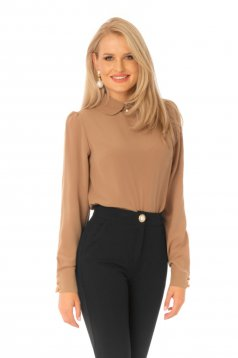 Office brown women`s blouse thin fabric flared with large collar