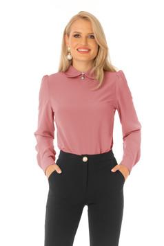 Bluza dama PrettyGirl roz prafuit office din material subtire cu croi larg si guler barcuta