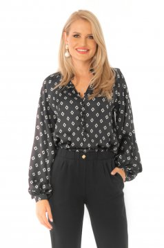 Women`s blouse black elegant flared with puffed sleeves with geometrical print