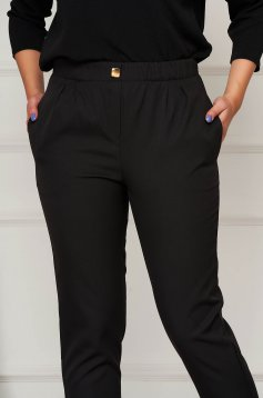 Trousers black office conical medium waist slightly elastic fabric