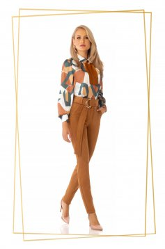 Elegant brown conical trousers high waisted slightly elastic fabric accessorized with tied waistband