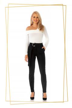 Pantaloni PrettyGirl negri eleganti conici cu talie inalta din stofa usor elastica accesorizati cu cordon