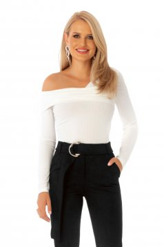 Women`s blouse white casual with tented cut naked shoulders