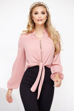Lightpink women`s blouse voile fabric elegant flared with puffed sleeves