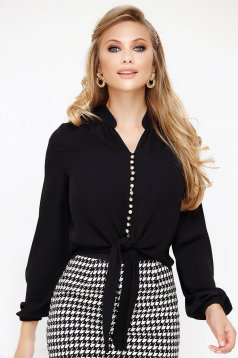 Black women`s blouse voile fabric elegant flared with puffed sleeves