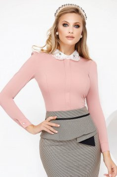 Lightpink women`s shirt office with tented cut slightly elastic cotton with crystal embellished details