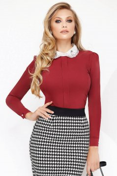 Burgundy women`s shirt office with tented cut slightly elastic cotton with crystal embellished details