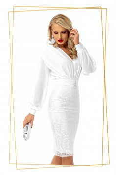 Dress white occasional from veil fabric laced pencil midi