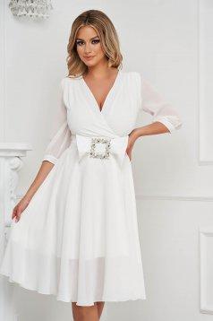 White dress elegant midi cloche from satin buckle accessory
