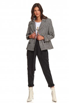 White coat casual flared from soft fabric