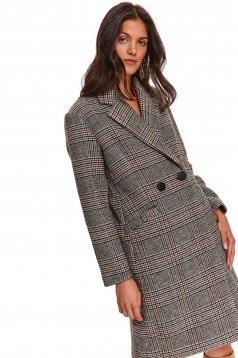 Palton Top Secret negru casual lung cambrat din stofa in carouri