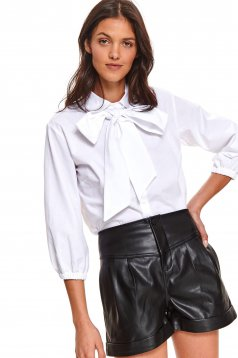 White women`s shirt casual flared with bow with 3/4 sleeves