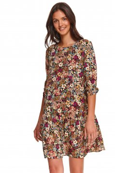 Black dress flared nonelastic fabric with floral print
