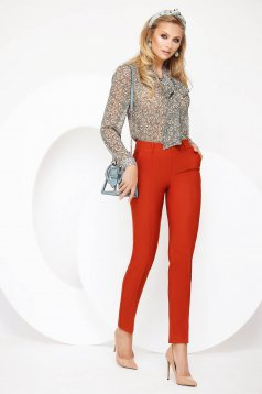 Bricky trousers elegant medium waist accessorized with belt straight