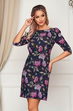 StarShinerS darkblue dress elegant short cut straight slightly elastic fabric with floral prints