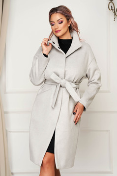 Lightgrey coat casual cloth straight