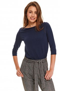 Darkblue women`s blouse casual tented knitted with 3/4 sleeves