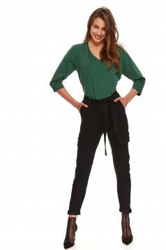 Green women`s blouse basic flared with 3/4 sleeves