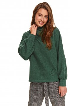 Green women`s blouse casual with turtle neck with easy cut knitted fabric