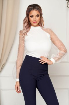 StarShinerS white women`s blouse with tented cut with puffed sleeves