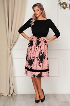 Dress StarShinerS elegant flaring cut slightly elastic fabric with floral prints