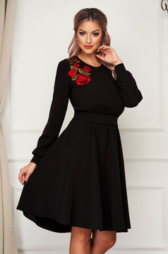 StarShinerS black dress midi daily cloche with elastic waist manual sewed embroidery