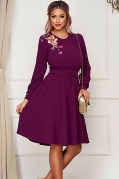 StarShinerS purple dress midi daily cloche with elastic waist manual sewed embroidery