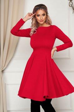 Midi red daily dress StarShinerS cloche slightly elastic fabric