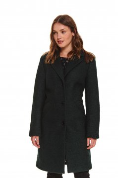 Green coat casual tented wool with inside lining