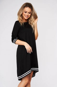 Black dress casual asymmetrical flared with 3/4 sleeves