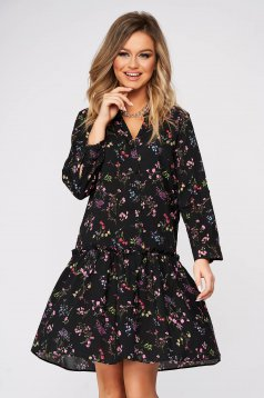 Black dress flared with v-neckline thin fabric with floral print