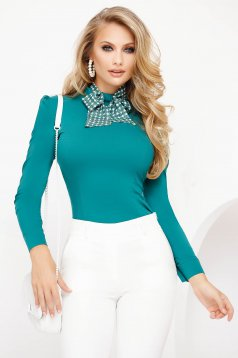 Office turquoise women`s shirt tented cotton with turtle neck