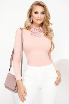 Office lightpink women`s shirt tented cotton with turtle neck