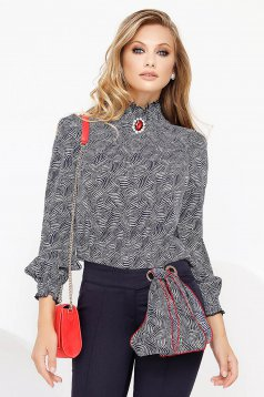 Darkblue office women`s blouse turtleneck thin fabric long sleeved with ruffle details