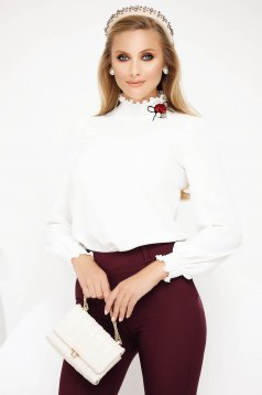 White office women`s blouse turtleneck thin fabric long sleeved with ruffle details
